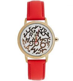 Часы с красным кожаным ремешком Morgan