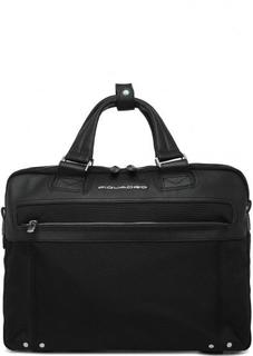Черная Текстильная сумка на молнии со съемным ремнем Piquadro