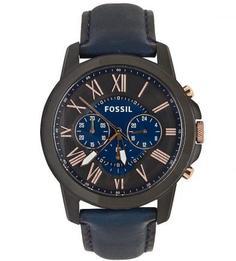 Кварцевые часы с синим кожаным браслетом Fossil