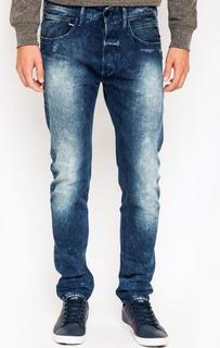 Зауженные джинсы с потертостями и заломами Replay