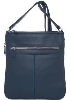 Кожаная синяя сумка через плечо Sergio Belotti