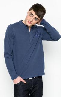 Синяя футболка с вырезом на пуговицах Lerros