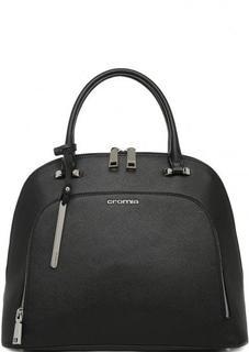 Черная кожаная сумка с короткими ручками Cromia