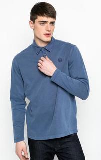 Синяя футболка поло с длинными рукавами Lerros
