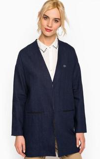 Льняное пальто синего цвета Maison Scotch