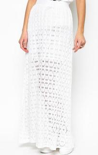 Ажурная длинная юбка белого цвета Pinko