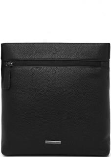 Черная сумка из натуральной кожи на молнии Cerruti 1881