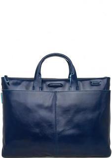 Вместительная синяя сумка из гладкой кожи Piquadro