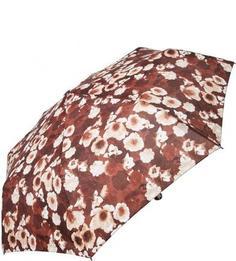 Коричневый складной зонт с цветочным принтом Doppler