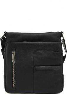 Черная кожаная сумка на молнии Gianni Conti