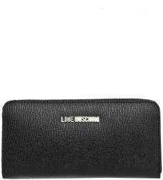 Черный кошелек с четырьмя отделами для купюр Love Moschino