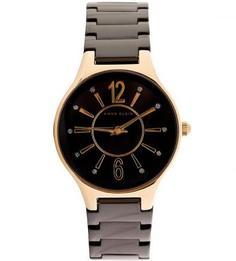 Часы с черным циферблатом круглой формы Anne Klein