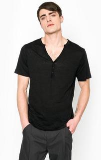 Черная футболка с вырезом на пуговицах Drykorn