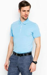 Голубая футболка поло из хлопка Lagerfeld