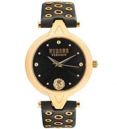 Часы с кожаным ремешком с металлическим декором Versus