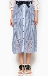 Ажурная голубая юбка на кнопках Pinko