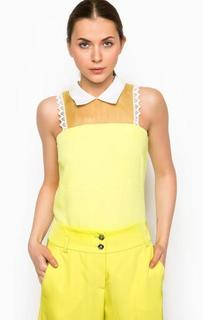 Желтая блуза с отложным воротником Pinko