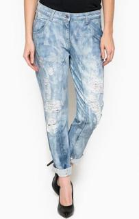 Голубые джинсы с потертостями Trussardi Jeans