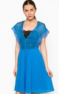 Приталенное синее платье Pinko