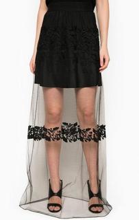 Черная юбка оригинального кроя Pinko