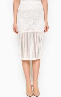 Ажурная белая юбка Pinko
