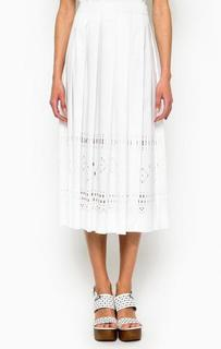 Белая хлопковая юбка в складку Pinko
