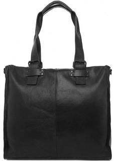 Черная сумка из натуральной кожи со съемным ремнем Gianni Conti