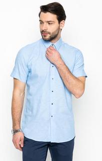Рубашка голубого цвета из хлопка и льна Lagerfeld