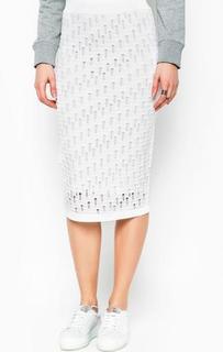 Ажурная белая юбка из вискозы Pinko