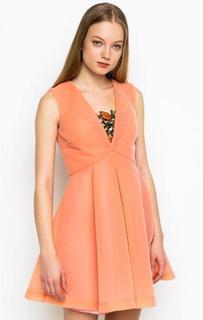 Короткое платье кораллового цвета Pinko