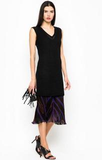 Черное платье с полупрозрачной вставкой Pinko
