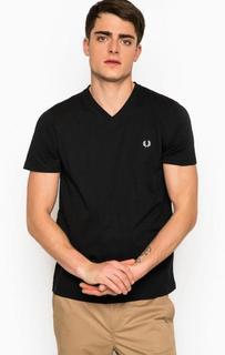 Черная футболка с треугольным вырезом Fred Perry