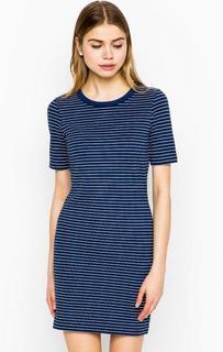 Короткое синее платье в полоску Tom Tailor Denim