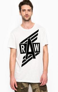 Белая футболка с контрастным принтом G Star RAW
