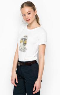 Белая футболка с принтом Barbour