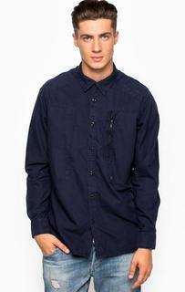 Синяя рубашка из хлопка с внутренним карманом G Star RAW