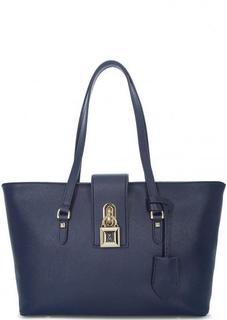 Синяя кожаная сумка с одним отделом Patrizia Pepe