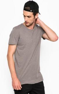 Хлопковая футболка серого цвета Tom Tailor Denim