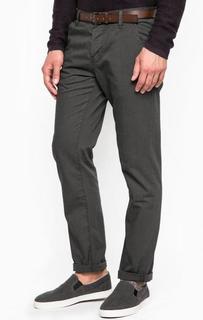 Серые хлопковые брюки-чиносы с ремнем Tom Tailor Denim