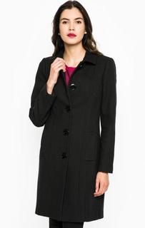 Черное классическое пальто из вискозы, хлопка, шерсти и акрила Trussardi Jeans