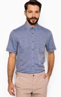 Синяя хлопковая рубашка 18 Crr81 Cerruti
