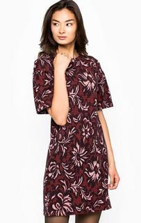 Бордовое платье с широкими рукавами Pinko