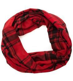 Красный шарф-хомут из полиэстера в клетку More & More