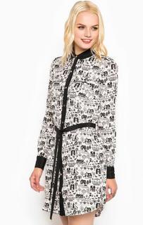 Короткое шелковое платье с поясом Juicy Couture