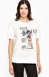 Хлопковая футболка с принтом и стразами Liu Jo