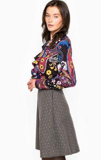 Разноцветное платье с оборками на вороте Fornarina