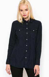 Темно-синяя хлопковая рубашка на кнопках G Star RAW