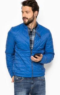 Синяя куртка на молнии с наушниками Guess