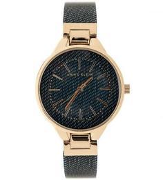 Часы с пластиковым браслетом синего цвета Anne Klein