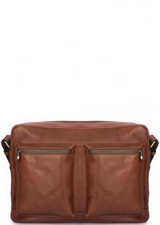 Коричневая кожаная сумка через плечо Gianni Conti